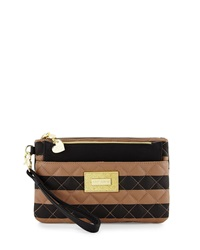 Betsey Johnson Be Mine Forever Striped Quilted Wristlet Spice Black
