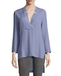 Halston Notched V Neck High Low Tunic Top Lavender