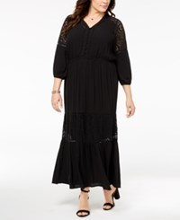 Styleandco. Style Co Plus Size Lace Ruffled Maxi Dress Created For Macy's Deep Black