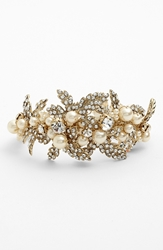 Nina 'Hallie' Faux Pearl And Crystal Bracelet Ivory Pearl Clear Gold