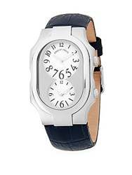 Philip Stein Teslar Classic Stainless Steel And Leather Strap Watch Navy Blue