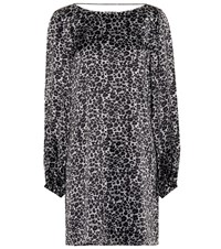 Equipment Leopard Silk Tunic Dress Grey