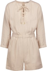 Derek Lam 10 Crosby By Lace Up Crepe Playsuit Beige