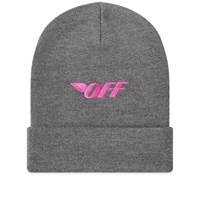 Off White Embroidered Logo Beanie Grey