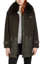 Trina Turk Genuine Fox Fur Trim Mixed Media Coat Olive