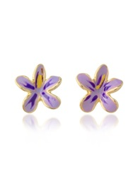 A Z Collection Garden Line Purple Enamel Flower Earrings Violet