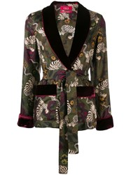 F.R.S For Restless Sleepers Tiger Print Silk Jacket Green