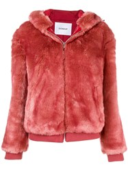 Dondup Faux Fur Hooded Jacket Pink And Purple