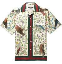Gucci Camp Collar Printed Silk Shirt Beige
