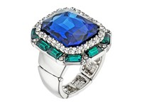 Guess Large Faceted Stone Cocktail Ring Silver Crystal Montana Ring Blue