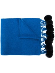 N.Peal Fur Bobble Knitted Scarf Blue