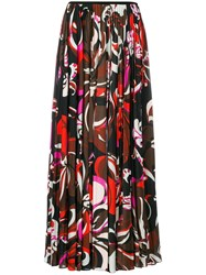 Emilio Pucci Pleated Printed Skirt Polyester Viscose