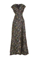 Alexis Mabille Cap Sleeve Floral Gown