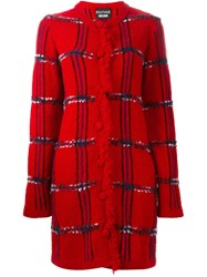 Boutique Moschino Checked Knit Coat Red