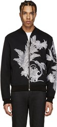 Versace Black Embroidered Leaf Zip Up Sweater