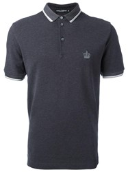 Dolce And Gabbana Embroidered Crown Polo Shirt Grey