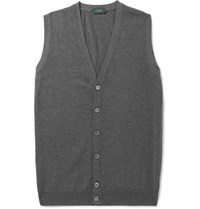 Incotex Knitted Cotton Sweater Vest Gray