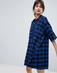 D.Ra Papaya Check Shirt Dress Sapphire Plaid Blue