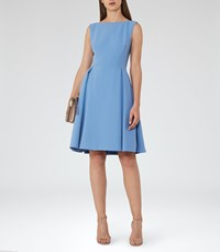 Reiss Eri Womens Low Back Fit And Flare Dress In Blue