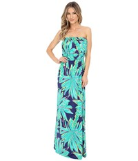 Lilly Pulitzer Marlisa Maxi Dress Bright Navy Tiger Palm Women's Dress Green