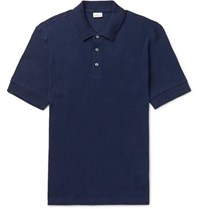 Brioni Waffle Knit Cotton Polo Shirt Navy
