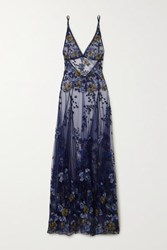 I.D. Sarrieri Embroidered Satin Trimmed Tulle Maxi Dress Blue