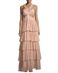 Cinq A Sept Leda Sleeveless Cutout Waist Tiered Silk Evening Gown Pink