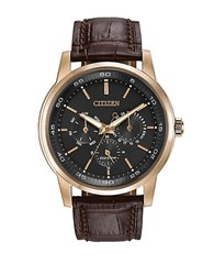 Citizen Mens Eco Drive Rose Goldtone And Leather Watch Brown