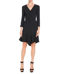 Givenchy 3 4 Sleeve Asymmetric Double Layer Dress Black