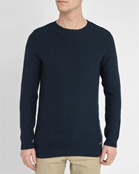 Knowledge Cotton Apparel Navy Graphics Knit Round Neck Sweater
