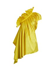 Marques Almeida One Shoulder Silk Taffeta Top Yellow