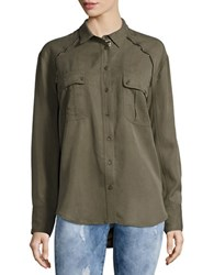 Free People Button Front Metallic Accented Top Green