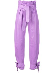 Attico Cropped Paperbag Trousers Purple