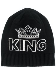 Dolce And Gabbana King Print Beanie Hat Black