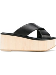 Robert Clergerie Crossover Flatform Sandals Black