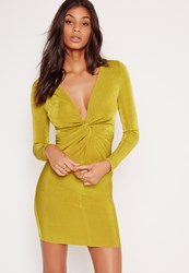 Missguided Twist Front Slinky Bodycon Dress Chartreuse Green Chartreuse