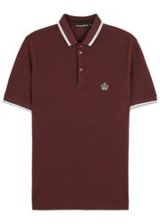 Dolce And Gabbana Burgundy Embroidered Pique Cotton Polo Shirt