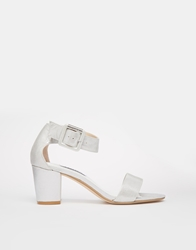 Dune Joye Silver Leather Mid Heel Sandals