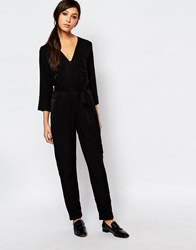 Neon Rose Relaxed Jumpsuit With Zip Front And Belt Detail Black