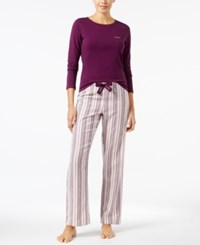 Calvin Klein Knit Top And Flannel Pajama Pants Gift Set Plum Stripe