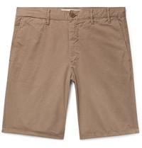 Norse Projects Aros Slim Fit Garment Dyed Cotton Twill Shorts Brown