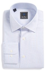 David Donahue Men's Big And Tall Regular Fit Check Dress Shirt Sky Grass