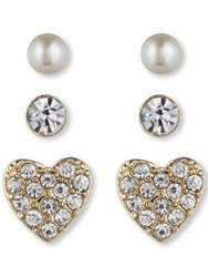 Lonna And Lilly Classic Stud Earring 3 Pair Set Gold