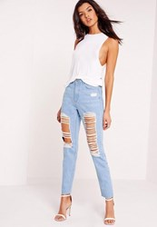 Missguided Petite High Rise Ripped Jeans Stonewash Blue