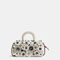 Coach Double Dinky In Glovetanned Leather With Wild Tea Rose Light Antique Nickel Cream