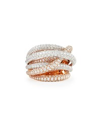 18K White And Rose Gold Fantasia Pave Diamonds Crossover Ring Roberto Coin Pink