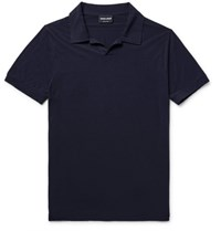 Giorgio Armani Stretch Jersey Polo Shirt Blue
