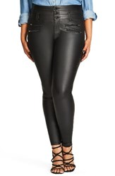 City Chic Plus Size Women's Sexy Pins Coated Skinny Jeans