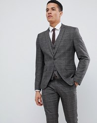 Selected Homme Skinny Suit Jacket In Check Brown