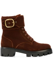 Coach Lucy Lace Up Boots Brown